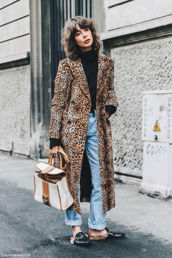 slippers de piel + abrigo leopardo