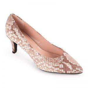 Zapato salón tacón piel tipo serpiente, color natural con plataforma interior